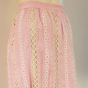 pink 1960s lace linen embroidery skirt M hand made